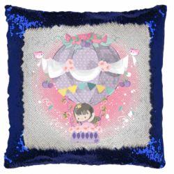 Подушка-хамелеон Принцесса на воздушном шаре