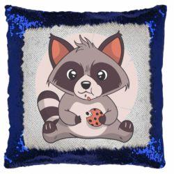 Подушка-хамелеон Raccoon with cookies