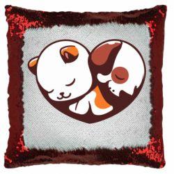 Подушка-хамелеон Сердечко. Котик и собачка