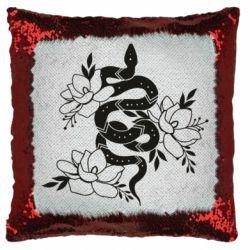 Подушка-хамелеон Snake with flowers