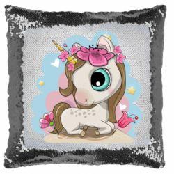 Подушка-хамелеон Unicorn with flowers