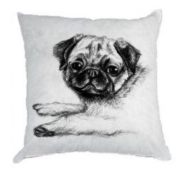 Подушка Pug drawing