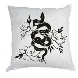 Подушка Snake with flowers