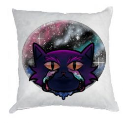 Подушка The cat is crying against the backdrop of space