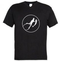 Мужская футболка  с V-образным вырезом Подводная охота - FatLine