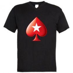 Мужская футболка  с V-образным вырезом Poker Stars 3D Logo - FatLine