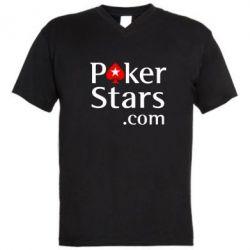 Мужская футболка  с V-образным вырезом Poker Stars - FatLine