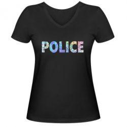 Женская футболка с V-образным вырезом Police голограмма