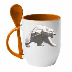 Кружка з керамічною ложкою Полярний ведмідь