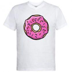 Мужская футболка  с V-образным вырезом Пончик Гомера - FatLine
