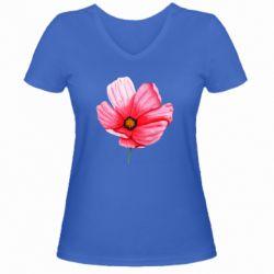 Женская футболка с V-образным вырезом Poppy flower