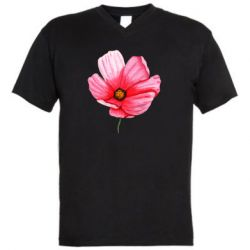Мужская футболка  с V-образным вырезом Poppy flower
