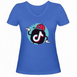 Жіноча футболка з V-подібним вирізом Dancing Tik tok