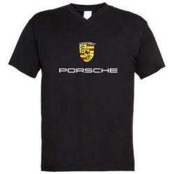 Мужская футболка  с V-образным вырезом Porsche - FatLine