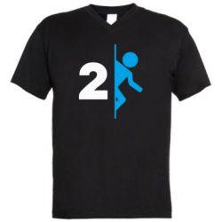 Мужская футболка  с V-образным вырезом Portal 2 logo