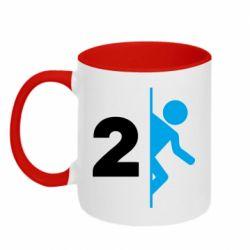Кружка двухцветная 320ml Portal 2 logo