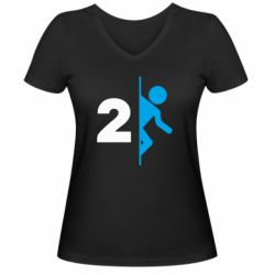 Женская футболка с V-образным вырезом Portal 2 logo
