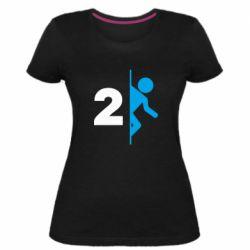 Женская стрейчевая футболка Portal 2 logo