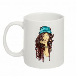 Кружка 320ml Portrait of a hippie girl with long hair