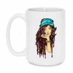 Кружка 420ml Portrait of a hippie girl with long hair