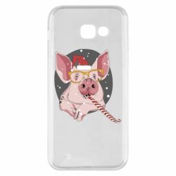 Чохол для Samsung A5 2017 Portrait of the pink Pig in a red Santa's cap