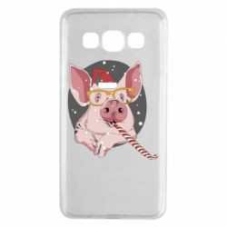 Чохол для Samsung A3 2015 Portrait of the pink Pig in a red Santa's cap