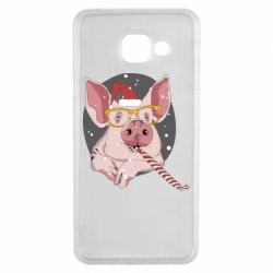 Чохол для Samsung A3 2016 Portrait of the pink Pig in a red Santa's cap