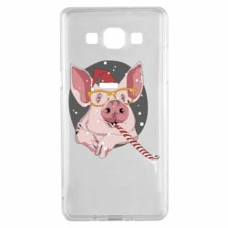 Чохол для Samsung A5 2015 Portrait of the pink Pig in a red Santa's cap