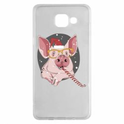 Чохол для Samsung A5 2016 Portrait of the pink Pig in a red Santa's cap