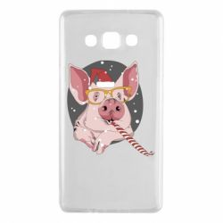 Чохол для Samsung A7 2015 Portrait of the pink Pig in a red Santa's cap