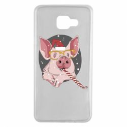 Чохол для Samsung A7 2016 Portrait of the pink Pig in a red Santa's cap