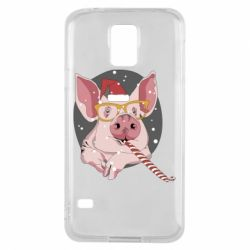 Чохол для Samsung S5 Portrait of the pink Pig in a red Santa's cap