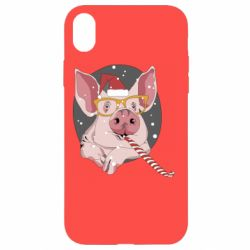 Чохол для iPhone XR Portrait of the pink Pig in a red Santa's cap