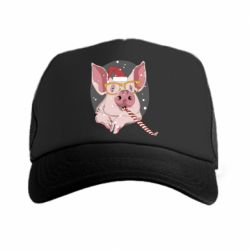 Кепка-тракер Portrait of the pink Pig in a red Santa's cap