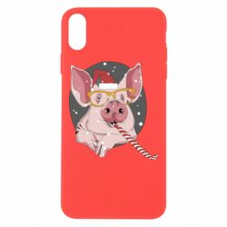 Чохол для iPhone Xs Max Portrait of the pink Pig in a red Santa's cap
