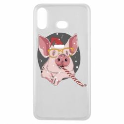 Чохол для Samsung A6s Portrait of the pink Pig in a red Santa's cap
