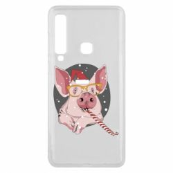 Чохол для Samsung A9 2018 Portrait of the pink Pig in a red Santa's cap