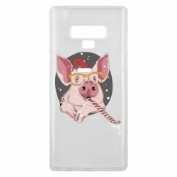Чохол для Samsung Note 9 Portrait of the pink Pig in a red Santa's cap