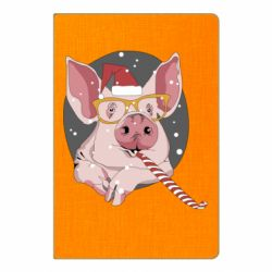 Блокнот А5 Portrait of the pink Pig in a red Santa's cap