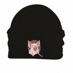 Шапка на флісі Portrait of the pink Pig in a red Santa's cap