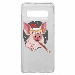 Чохол для Samsung S10+ Portrait of the pink Pig in a red Santa's cap
