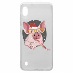 Чохол для Samsung A10 Portrait of the pink Pig in a red Santa's cap