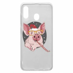 Чохол для Samsung A20 Portrait of the pink Pig in a red Santa's cap