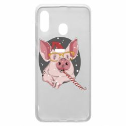 Чохол для Samsung A30 Portrait of the pink Pig in a red Santa's cap