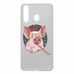 Чохол для Samsung A60 Portrait of the pink Pig in a red Santa's cap