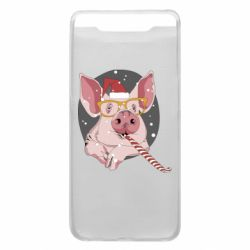 Чохол для Samsung A80 Portrait of the pink Pig in a red Santa's cap