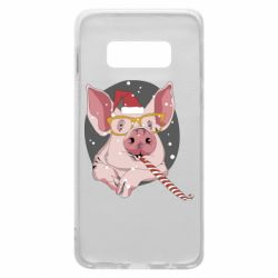 Чохол для Samsung S10e Portrait of the pink Pig in a red Santa's cap