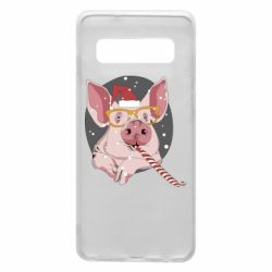 Чохол для Samsung S10 Portrait of the pink Pig in a red Santa's cap