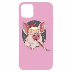 Чохол для iPhone 11 Portrait of the pink Pig in a red Santa's cap