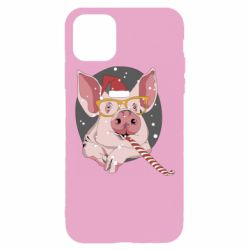 Чохол для iPhone 11 Pro Portrait of the pink Pig in a red Santa's cap